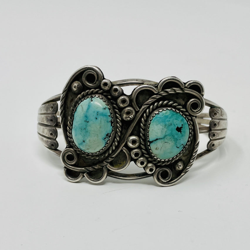 Fred Harvey Era Silver Cuff w 2 Turquoise Stones