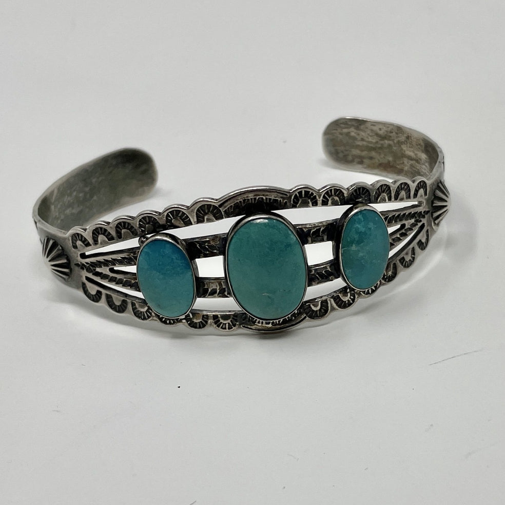 Fred Harvey Era Silver Cuff with 3 oval Turquoise Stones, Repousse' and Stampwork