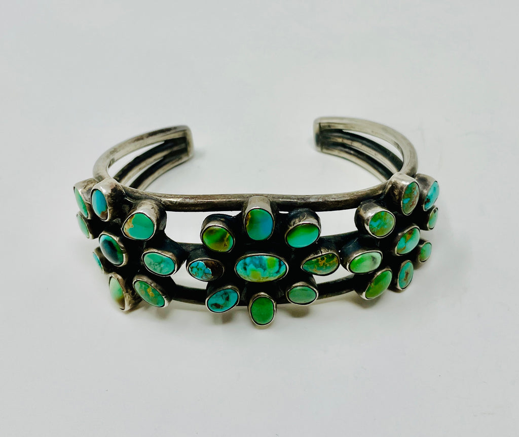 Navajo Sterling Silver Cluster Cuff w 27 Turquoise Stones