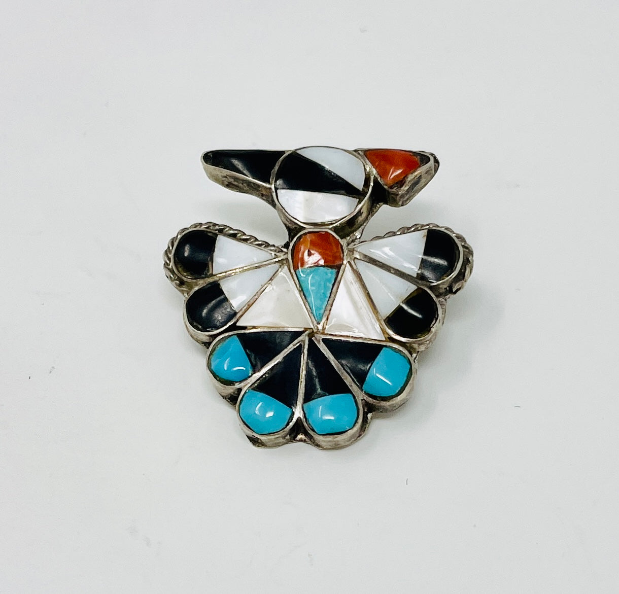 Zuni Thunderbird with Channel Inlay Pin and Pendant