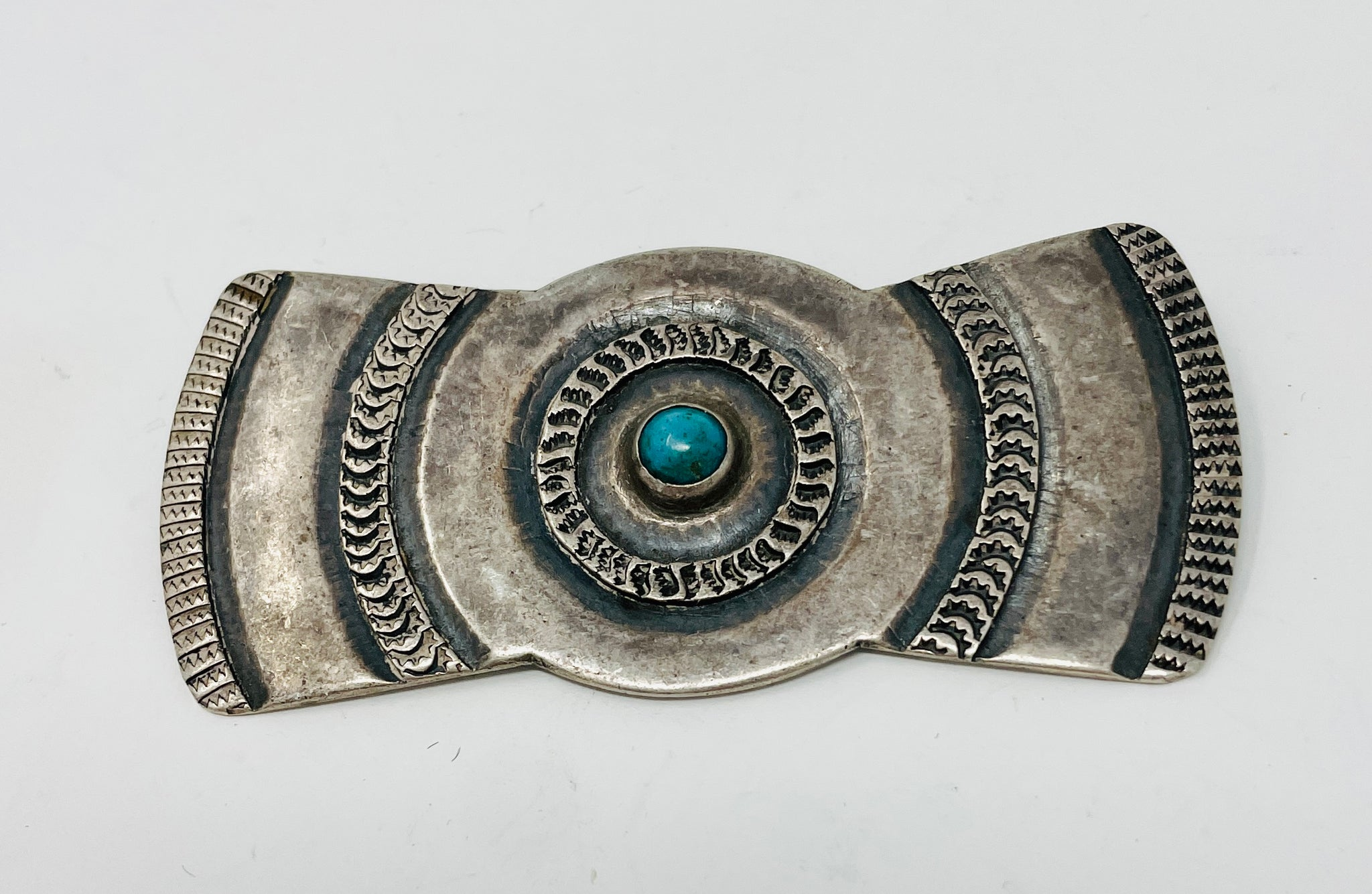 Navajo Pin with Hand Stamps and Turquoise Snake Eye