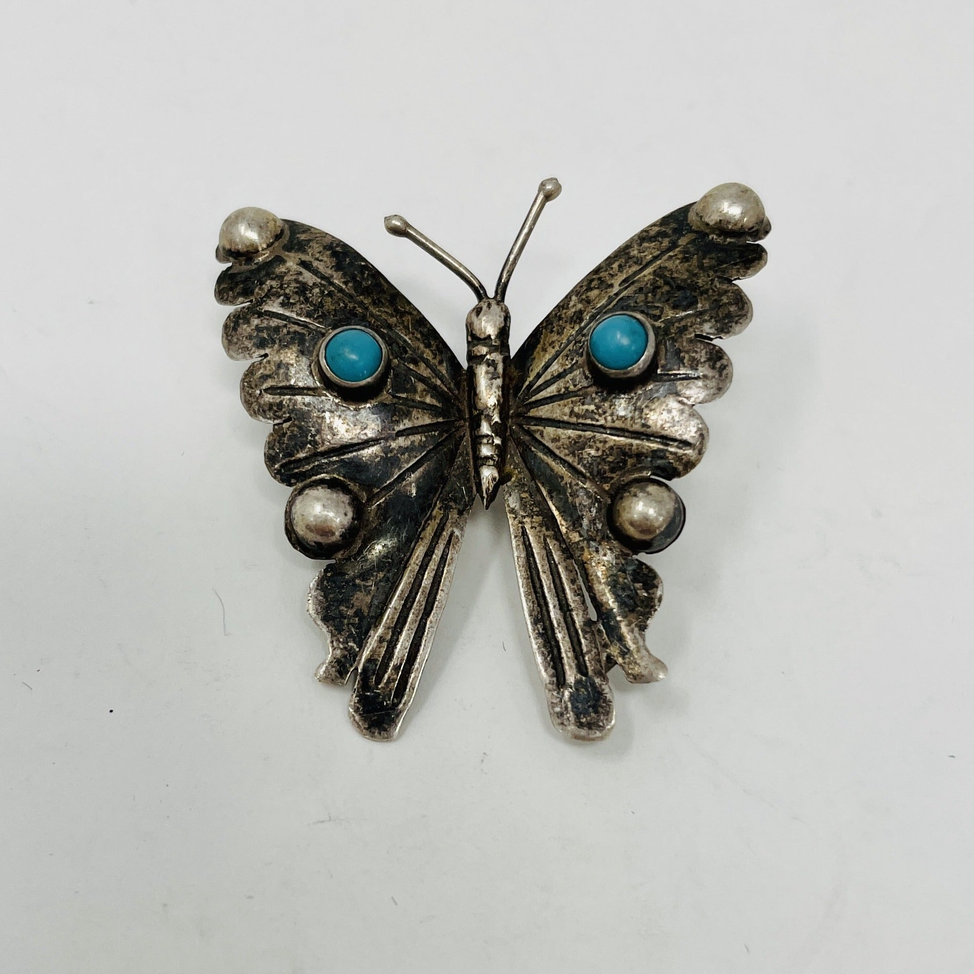 Whimsical Butterfly Pin with 2 Turquoise Stones and Hand Stamping