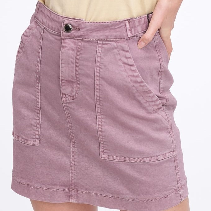 Washed Garment Cargo Skirt