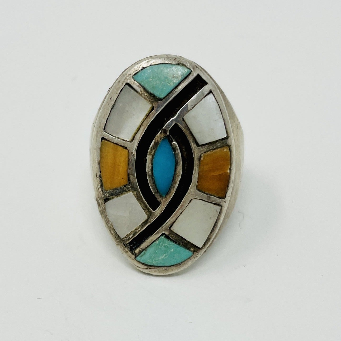 Zuni Silver Ring with Chanel Inlay