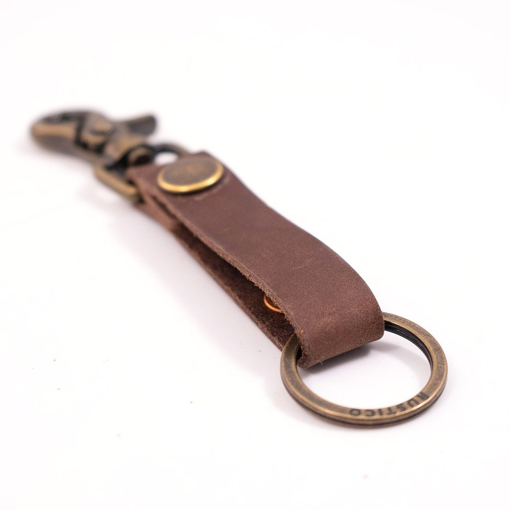 Super Loop Leather Keychain - Dark Brown