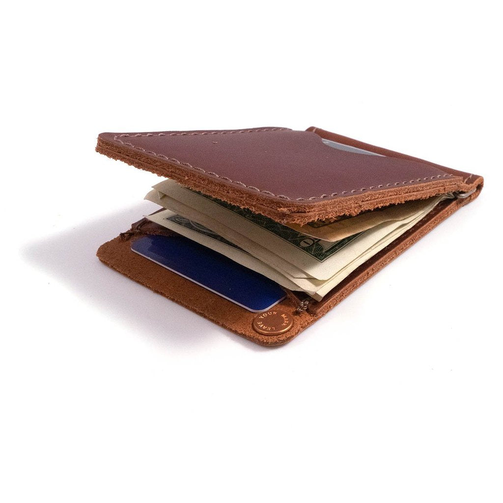 Wallet - Money Clip Leather Wallet - Dark Brown