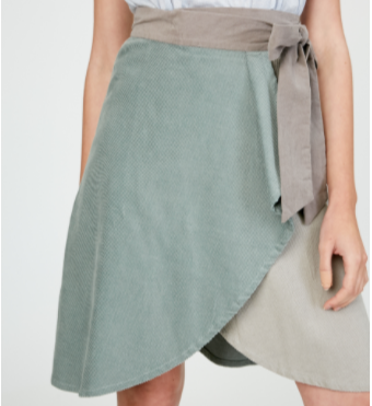 Corduroy Color Block Wrap Skirt