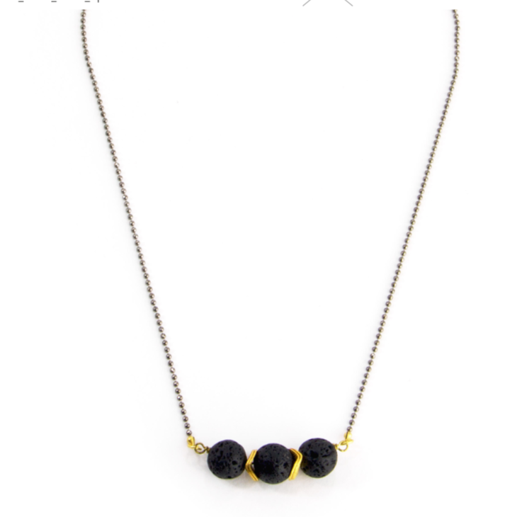 3 Lava Stone Necklace
