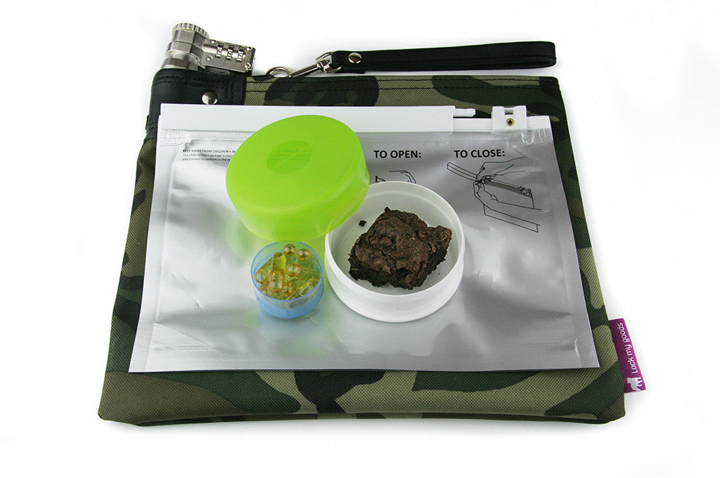 bf989253b9a2 Provides child resistant packaging for cannabis -- a camouflage medication  bag with combination lock