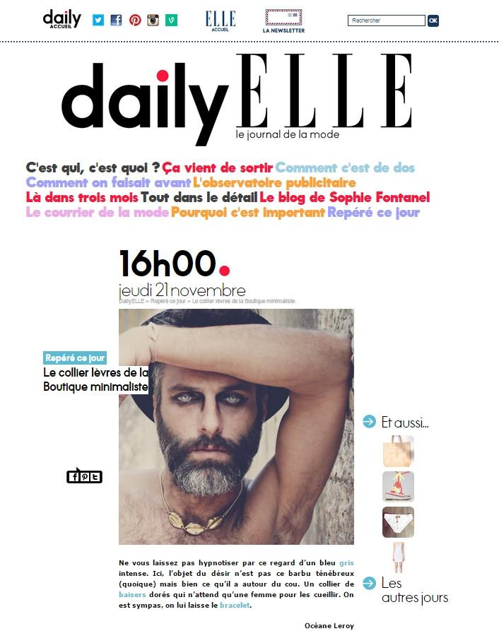 ELLE PARIS – DAILY ELLE – LE JOURNAL DE LA MODE | Boutique Minimaliste
