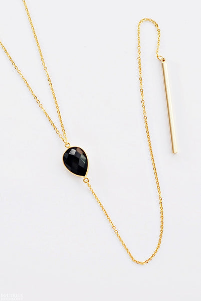 Onyx Lariat Necklace