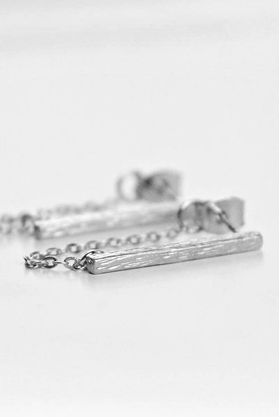 Bar chain earrings - Silver