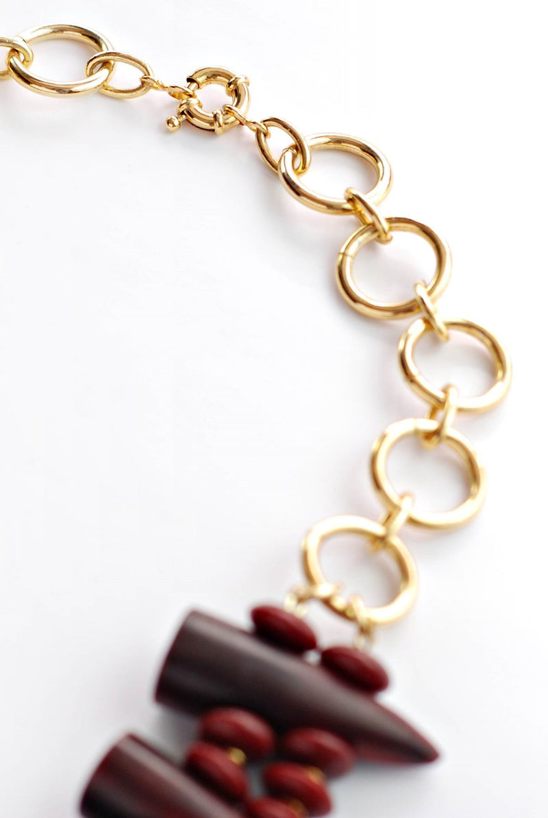 Burgundy Horns Necklace