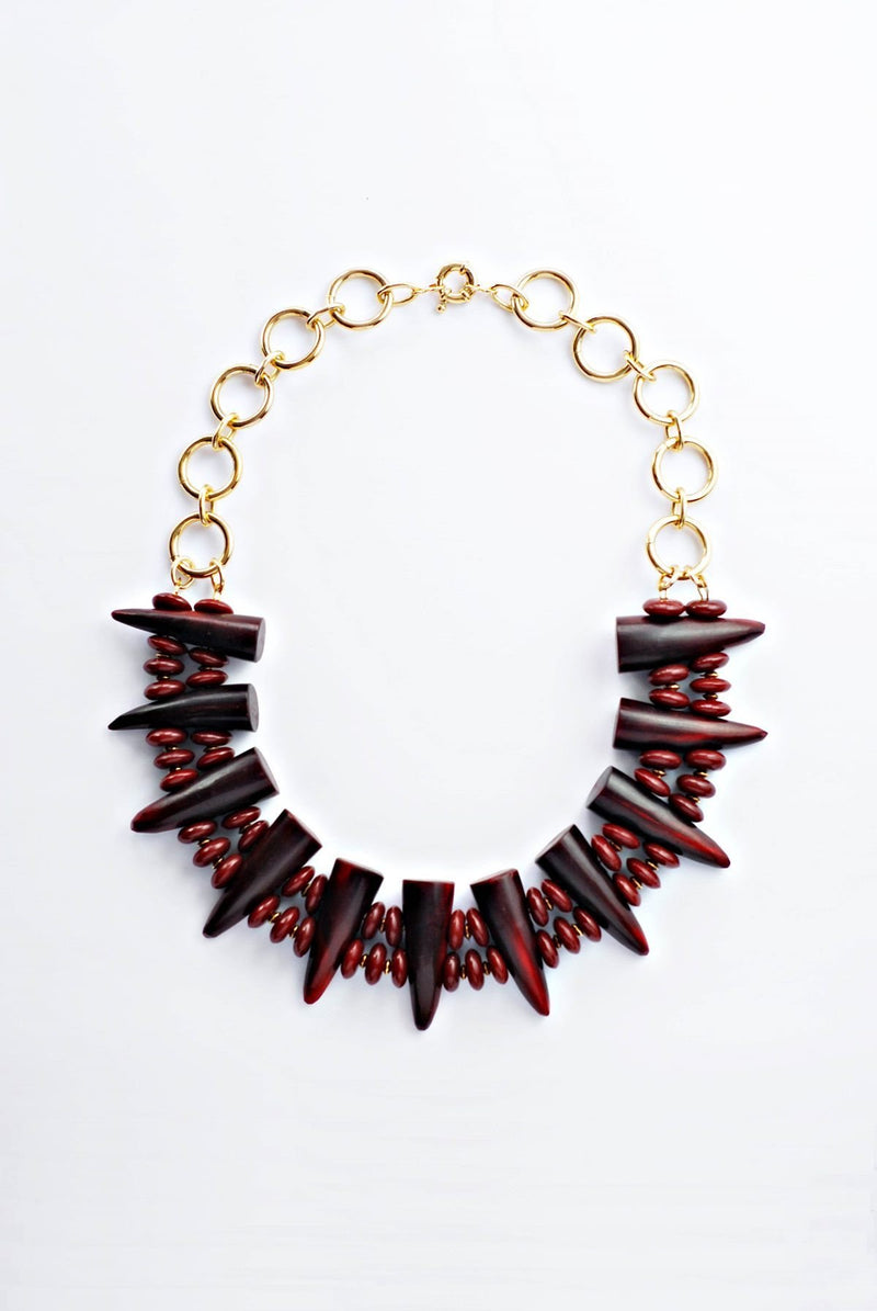 Burgundy Horns Necklace - Boutique Minimaliste Jewelry