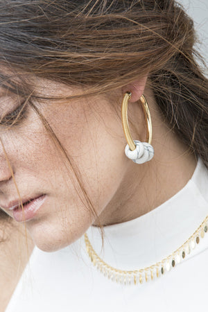 Marble Hoop Earrings - Boutique Minimaliste