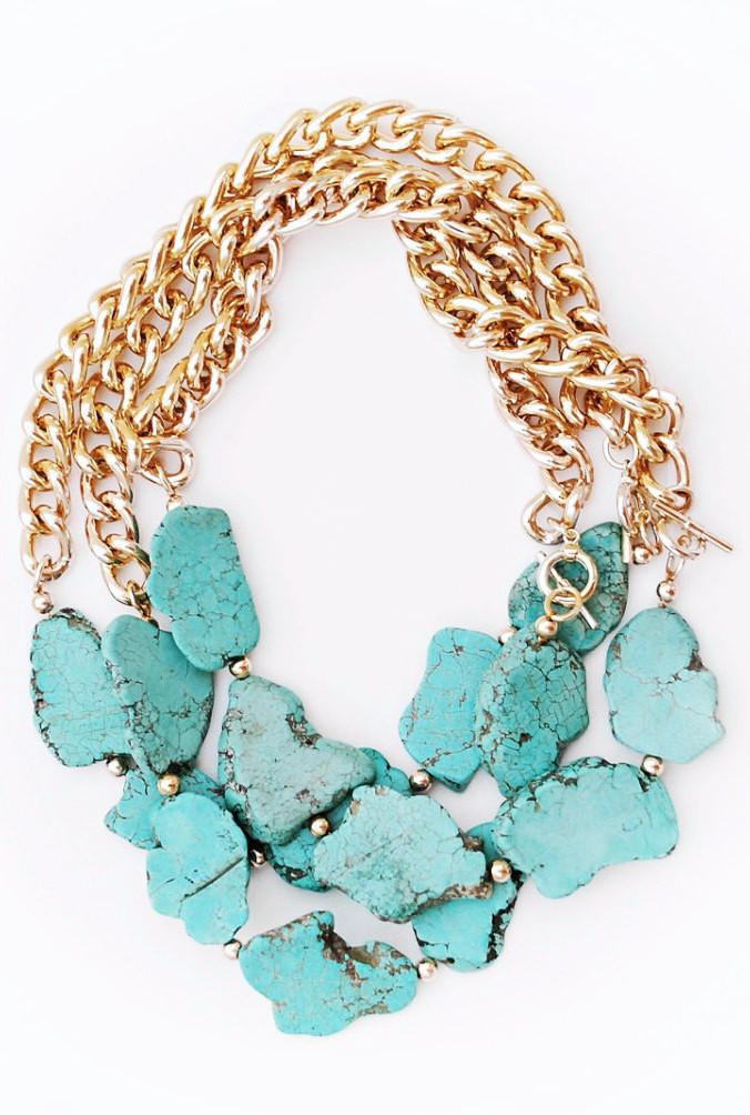 Turquoise & Gold Necklace - Boutique Minimaliste
