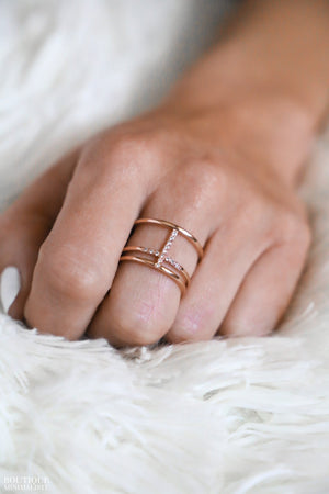 Zirconias Cross Ring - Boutique Minimaliste
