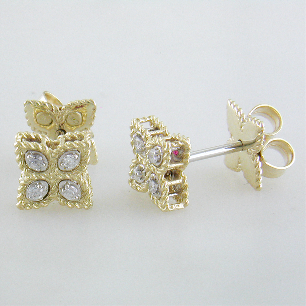 cfd78a061 Roberto Coin Princess Flower Diamond Small Stud Earrings 18K Yellow Gold