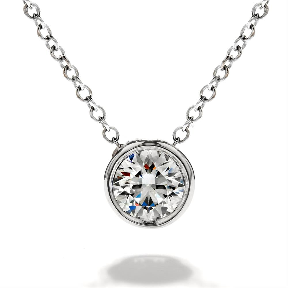 blue chain bezel diamond original set on adjustable necklace