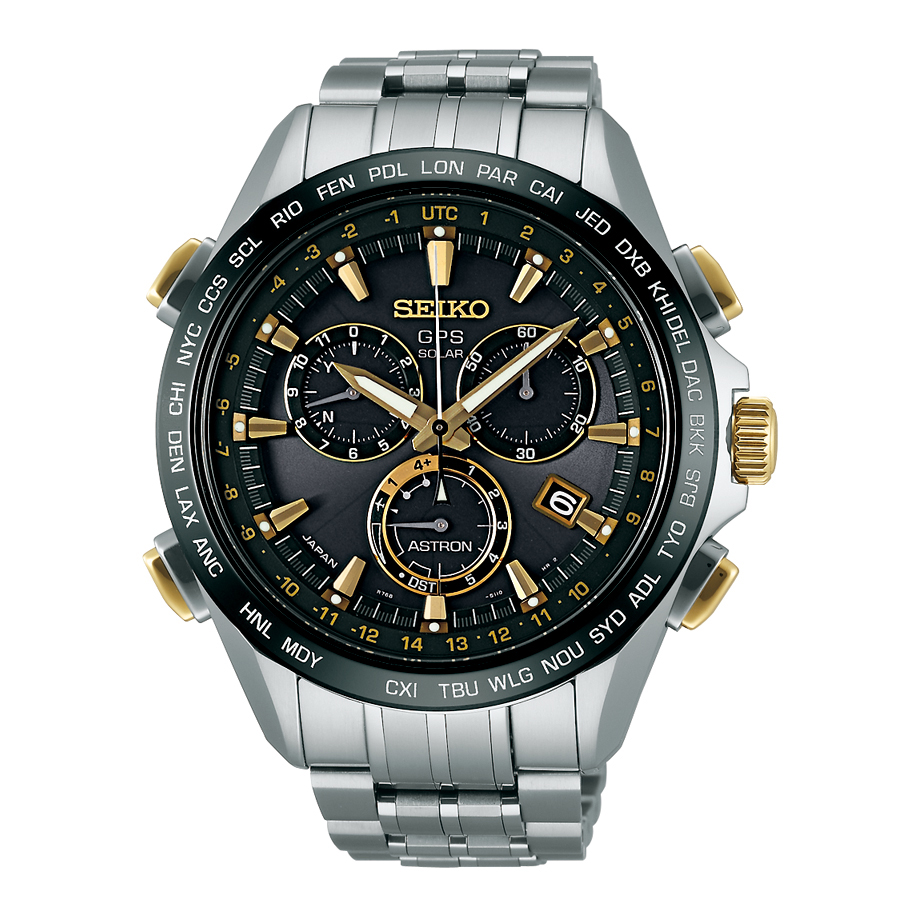 d5bf2c8629d Seiko Astron GPS Solar 44.6mm Watch Titanium with Yellow Gold   Ceramic  Bezel Black Dial