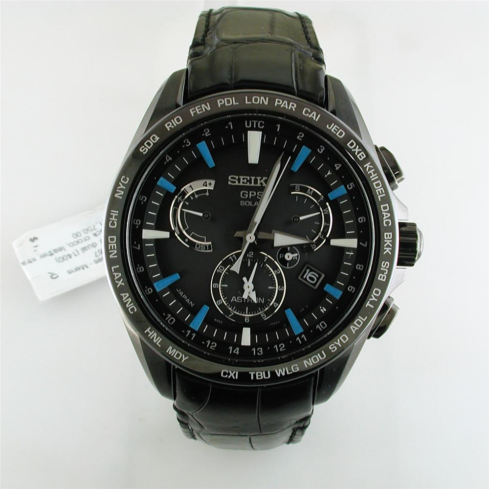 Seiko Astron Solar Gps Black Blue Watch Limited Edition For Usa 44 6mm Watch Sse067