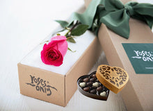 Single Bright Pink Rose Gift Box & Chocolates