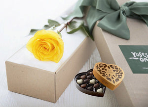 Single Yellow Rose Gift Box & Chocolates