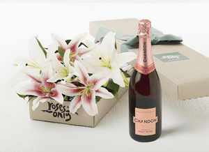 12 PINK LILIES GIFT BOX & CHANDON ROSE 750ML