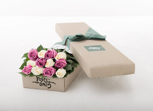 12 Cream White & Mauve Gift Box