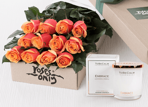 12 Cherry Brandy Roses Gift Box & Scented Candle