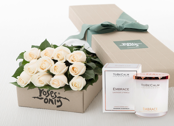 12 White Cream Roses Gift Box & Scented Candle