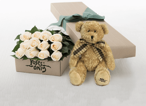 White Cream Roses Gift Box 12 & Teddy Bear