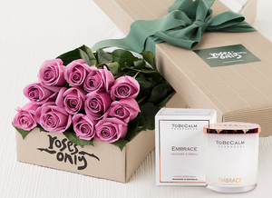 12 Mauve Roses Gift Box & Scented Candle