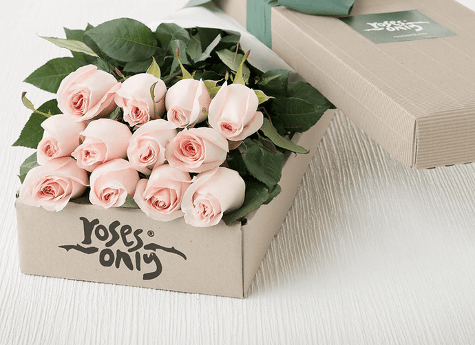 Mother's Day 12 Pastel Pink Roses Gift Box
