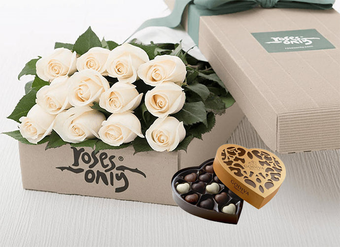 12 White Cream Roses Gift Box & Chocolates