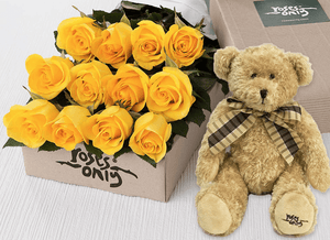 12 Yellow Roses Gift Box & Teddy Bear