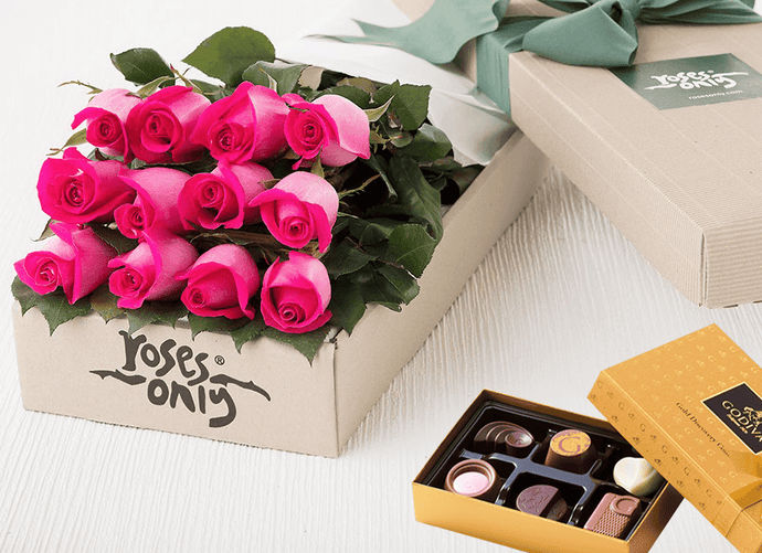 12 Bright Pink Roses Gift Box & Chocolates