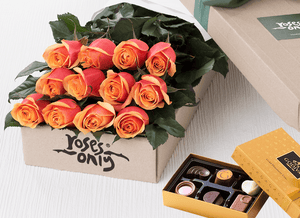 Cherry Brandy Roses Gift Box 12 & Chocolates