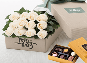 Mother's Day 12 White Cream Roses Gift Box & Chocolates