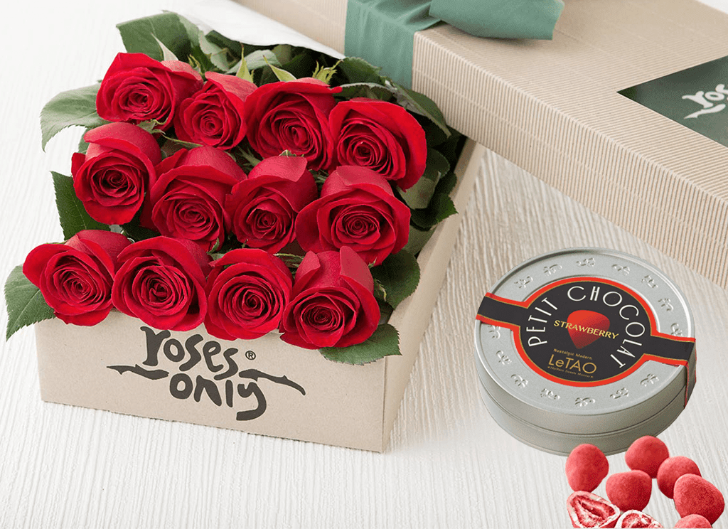 12 RED ROSES GIFT BOX &  LETAO PETIT CHOCOLATES