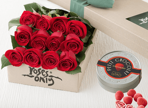 12 Red Roses Valentines Gift Box & LeTAO Petit Chocolates
