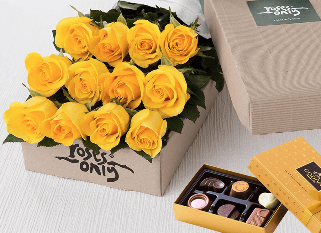 Mother's Day 12 Yellow Roses Gift Box & Chocolates