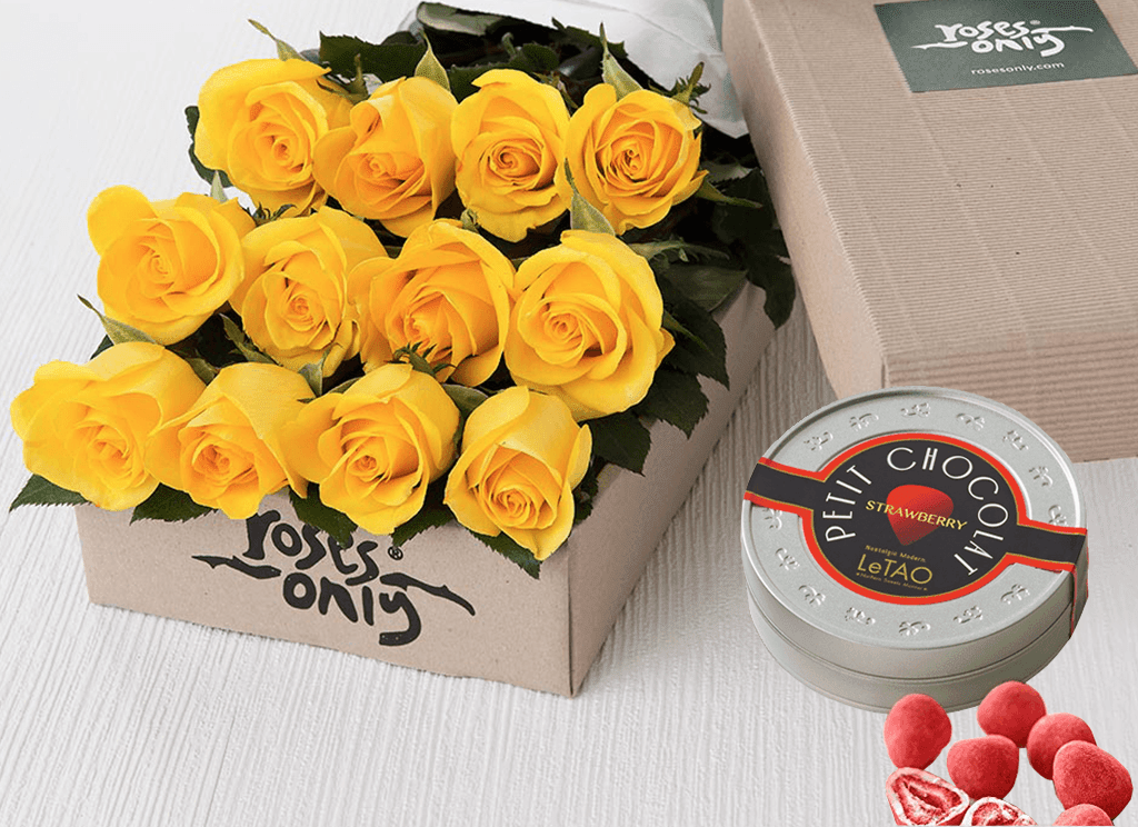 12 Yellow Roses Gift Box & Letao Petit Chocolates