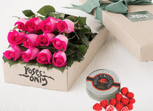 12 Bright Pink Roses Gift Box & Letao Petit Chocolates