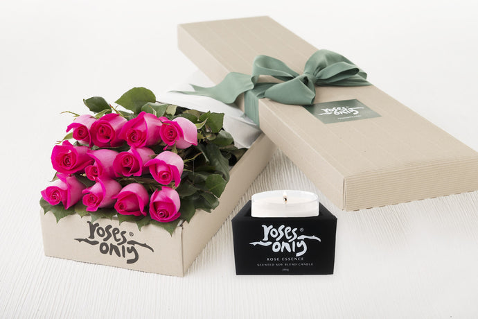 Bright Pink Roses Gift Box 12 & Scented Candle