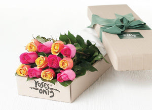 12 Mixed Bright Pink & Cherry Brandy Roses Gift Box