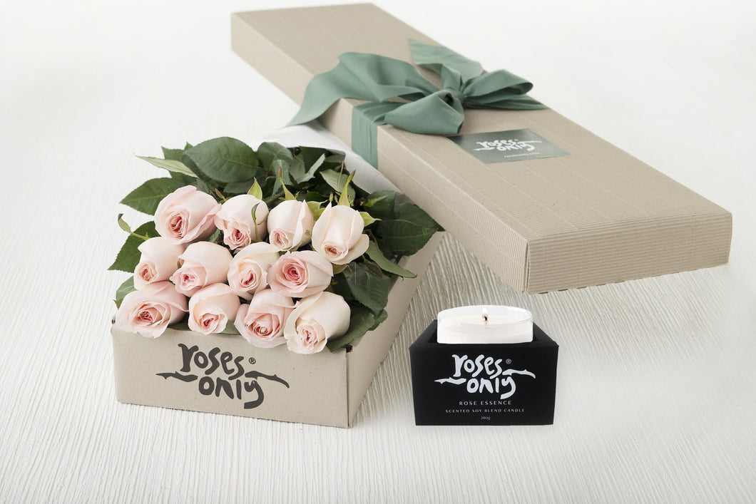 12 Pastel Pink Roses Gift Box & Scented Candle