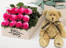 Bright Pink Roses Gift Box 12 & Teddy Bear