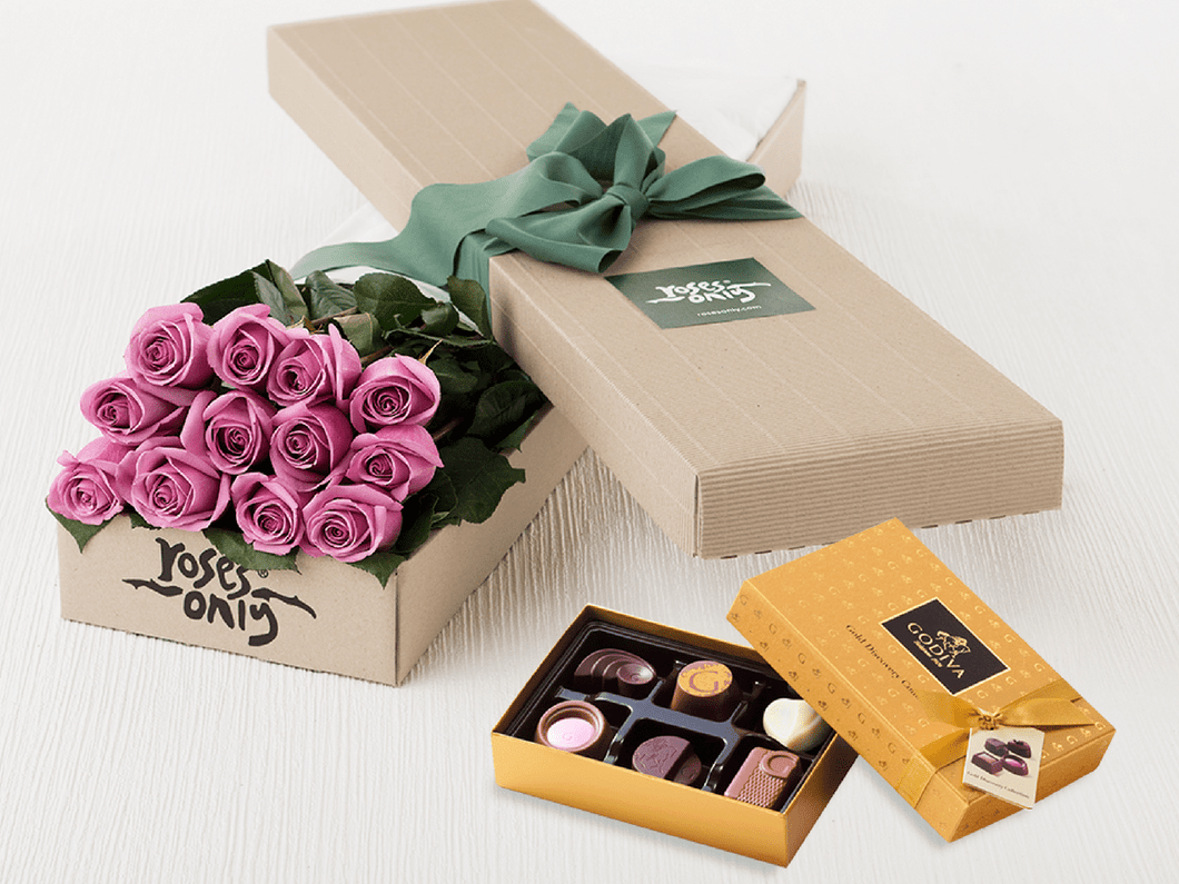 Mother's Day 12 Mauve Roses Gift Box & Chocolates