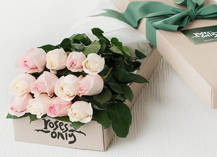 12 Pastel Mixed Roses Gift Box